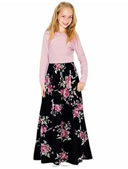 KIMIDY Girl Maxi Dress Kids Casual Striped Floral Long Sleeve Dresses with Pockets(6-12yrs)