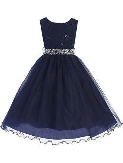 Sleeveless Lace Sequin Top Rhinestone Belt Pageant Flower Girl Dress Size 2-20