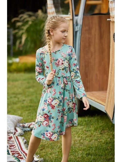 Arshiner Little Girls Long Sleeve A-Line Boho Dress Floral Print Midi Skater Dress
