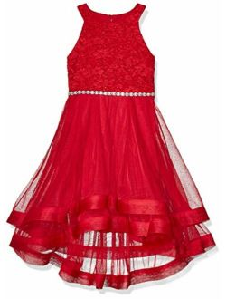 Speechless Girls' 7-16 Tween Maxi Dress with Wide Ribbon Hem for Formal Dance Or Party