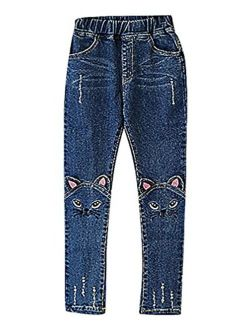 Sweety, Girls' Pull On Cat Face Ears Appliques Embroidery Tears Skinny Jeans