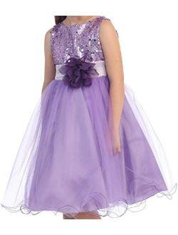Sequin Glitter Round Neck Tulle Overlaid Little Flower Girls Dresses
