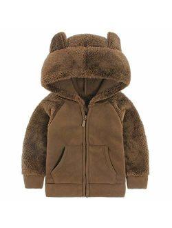 AMIYAN Bear Ears Shape Fleece Warm Hoodies Clothes Toddler Zip-up Light Jacket Sweatshirt Outwear for Baby Boys