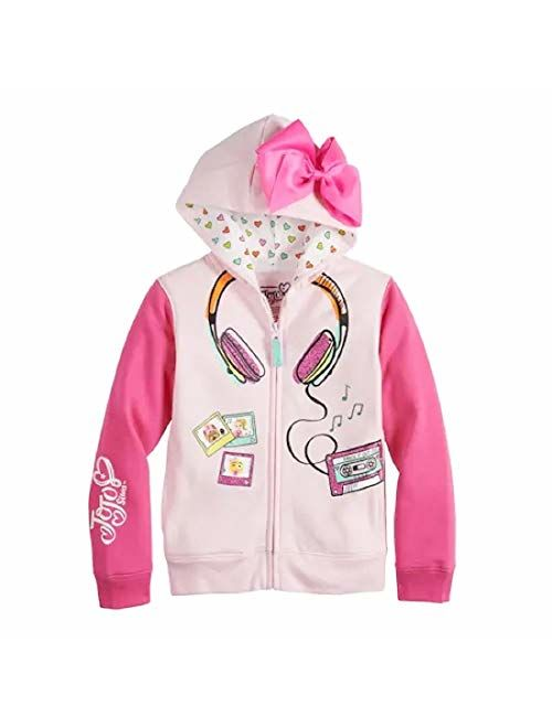 Jojo Siwa Girls' Little Headphones 3D Bow Zip-Up Hoodie Jacket, Light Pink/Hot Pink