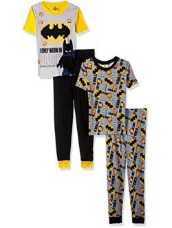 LEGO Batman Pajama Set,Boys 4 Piece PJ Set,Short Sleeve Long Pants,Cotton,Black Yellow, - sizes 4 to 10