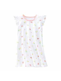 Allmeingeld Girls' Princess Nightgowns Heart Print Sleep Shirts Cotton Sleepwear for 3-12 Years