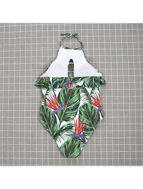 MISSugar Family Leaf Bikini Set Mommy&Girl Straps Swimsuit Daddy&Boy Swim Trunks