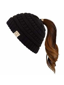 C.C Children Kids Beanie Chunky Knitted Beanie Pony Tail Hat for Kid Ages 2-7 (MB-847) (MB-816)