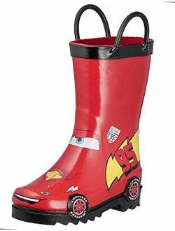 Cars Kids Boys Lightening Mcqueen Character Printed Waterproof Easy-on Rubber Rain Boots (toddler/little Kids)