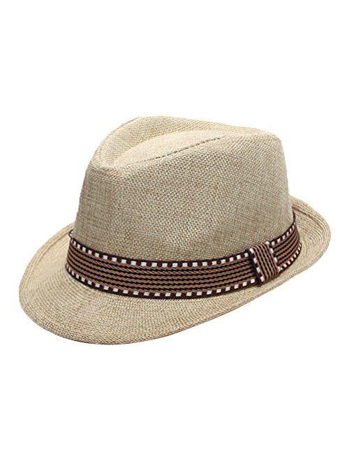 EachEver Kid Boys Fedora Hat Jazz Cap Cotton Photography Trilby Top Sun Hats