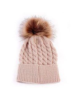 Baby Boys Girls Winter Knit Beanie Parent-Child Raccoon Fur Pom Bobble Hat Family Crochet Ski Cap