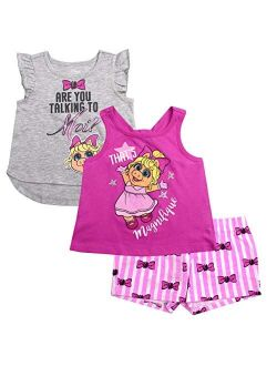 Girls 3-piece Shirts And Short Set: Wide Variety Includes Minnie, Frozen, And Princess