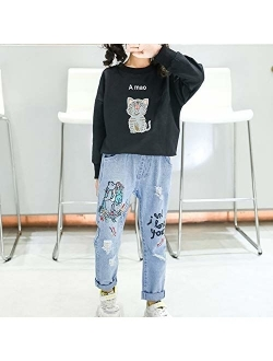 taitaibaby Girls Ripped Jeans Toddler Kids Elastic Waist Casual Printed Denim Pants Trousers with Holes,4-11 Years