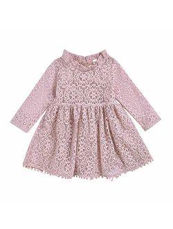 1-5T Kids Girl Hollow Lace Dress pom pom Short Sleeve Princess Frilled Waist Dress