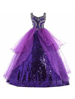 HuaMei Little Girls Sequins Spagehetti Ball Gowns Pageant Dresses