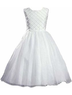 Swea Pea & Lilli White Shantung Communion Dress with Tucked Bodice and Pearl Accents