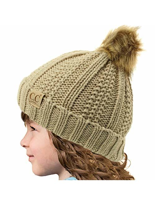 Kids CC Ages 2-7 Sherpa Lining Pompom Thick Stretchy Knit Beanie Cap Hat
