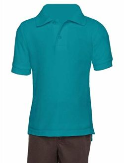 AKA Boys Wrinkle-Free Polo Shirt - Pique Chambray Collar Comfortable Quality