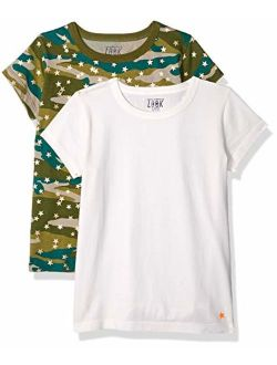 Amazon/ J. Crew Brand- LOOK by crewcuts Girls' 2-Pack Print/Solid Short Sleeve T-Shirt