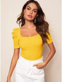 Solid Square Neck Puff Sleeve Top