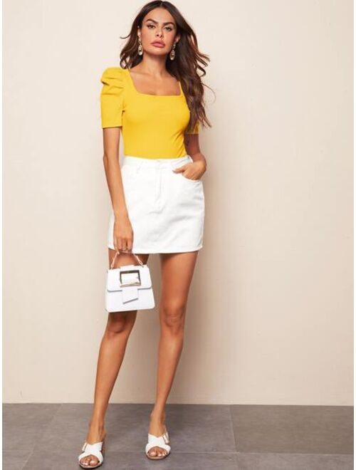 Shein Solid Square Neck Puff Sleeve Top