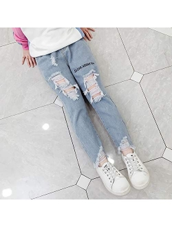 Digirlsor Girls Ripped Jeans Toddler Kids Cool Denim Pants with Holes Elastic Waist Casual Trousers, 4-12 Years
