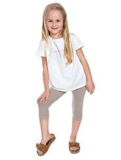 FUTURO FASHION Capri Girls Cotton Leggings Plain Colours Cropped Pants Age 2-13