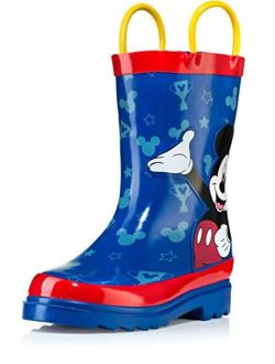 Kids Boys' Mickey Mouse Character Printed Waterproof Easy-on Rubber Rain Boots (toddler/little Kids)