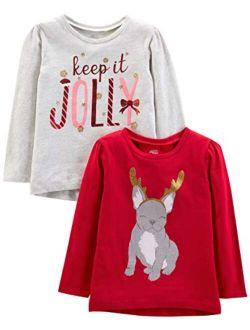 Toddler Girls' 2-pack Christmas Long-sleeve Tees