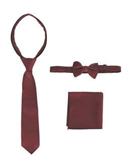 Kid's And Boy's Solid Zipper Tie, Bow Tie And Handkerchief Set