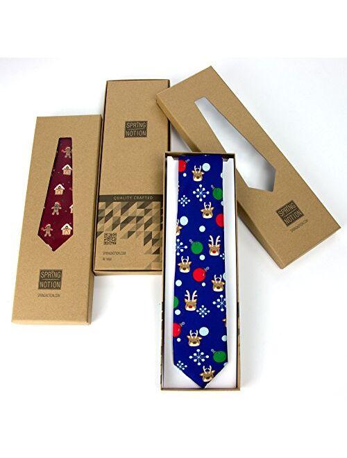 Spring Notion Boy's Printed Microfiber Christmas Theme Pretied Zipper Tie