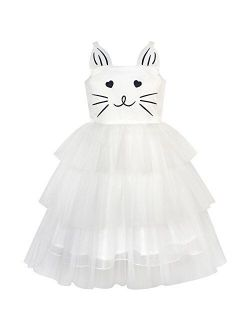 Girls Dress Cat Face Black Tower Ruffle Dancing Party Size 4-10