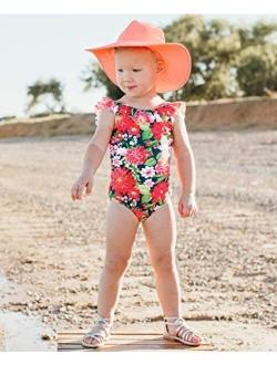 Girls Ruffle Strap One Piece Swimsuit W/upf 50+ Sun Protection