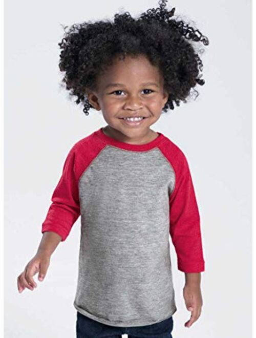 RABBIT SKINS Toddler Fine Jersey Raglan 3/4 Sleeve Baseball Tee