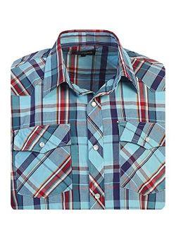 Boys Casual Western Plaid Long Sleeve Pearl Snaps Shirt
