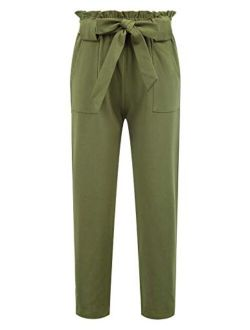 Danna Belle Girls Elastic Waist Long Pants with Pockets
