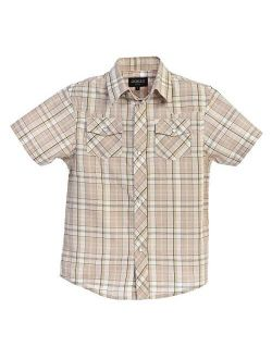Boys Casual Western Plaid Pearl Snap-on Buttons Short Sleeve Shirt