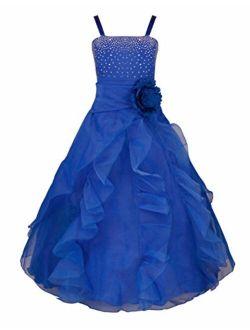 iEFiEL Ladys Girl Rhinestone Organza Flower Dress Pageant Holiday Prom Gown