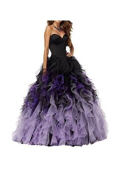 Chady Sweethart Ball Gown Puffy Ombre Organza Prom Dresses Long Quinceanera Dresses Black Lilac Prom Dresses Ball Gown