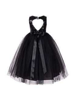 ekidsbridal Heart Cutout Sequin Junior Flower Girl Dress Christening Dresses 172seq