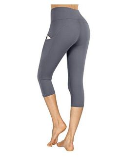 High Waist Tummy Control Yoga Pants With Pockets Workout 4 Way Stretch Capris Yoga Leggings