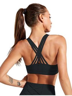 Strappy Sports Bra Women Workout Yoga Running High Impact Racerback Top with Removable Pad