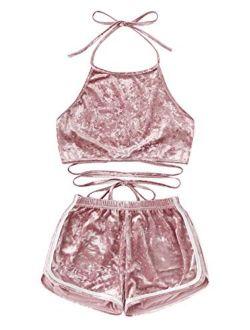 SOLY HUX Women's Velvet Open Back Halter Top with Shorts Elastic Waist Blouse