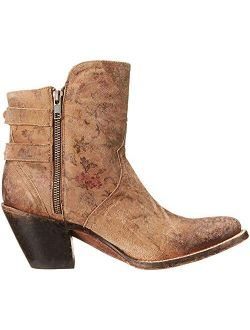 Bootmaker Women's Catalina-brown Floral Printed Shortie Ankle Bootie