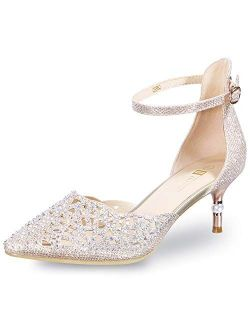 Women's In2 Candice Wedding Rhinestones Sequins Low Kitten Heels Pumps Dress Evening Shoes For Women Bridal Bride