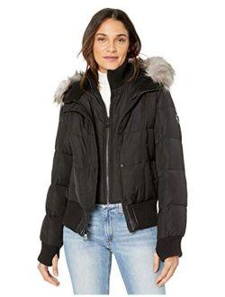 Women's Warm Winter Jacket With Faux Trimmed Hood