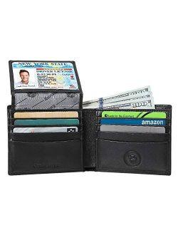 Mens Genuine Leather Wallet RFID Blocking Security Wallet by Emanuel