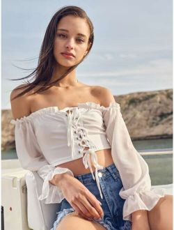 Lace Up Front Frill Trim Bardot Top