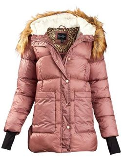 Women's Outerwear Thickened Down Winter Bubble Puffer Jacket With Sherpa Fur Lined Hood