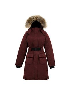 Triple F.A.T. Goose SAGA Collection | Estelle Womens Hooded Goose Down Jacket Parka with Real Coyote Fur